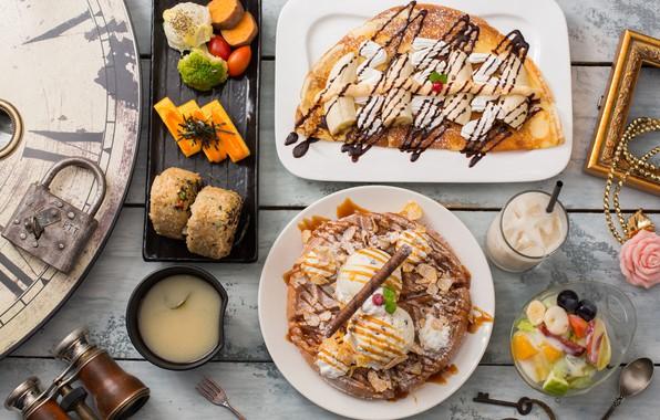 Picture ice cream, pancakes, dessert, waffles
