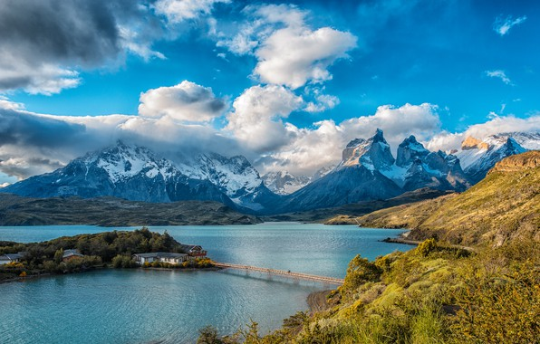 Picture the sky, the sun, clouds, trees, mountains, bridge, lake, rocks, houses, island, Chile, Lake Pehoe, ...