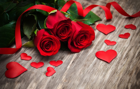Picture roses, red, love, buds, heart, wood, flowers, romantic, roses, red roses, valentine`s day