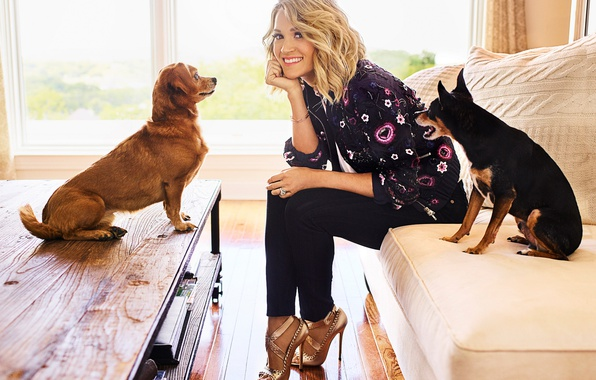 Picture dogs, pose, smile, window, hairstyle, blonde, singer, Carrie Underwood, sitting, on the couch, table, photoshoot, …
