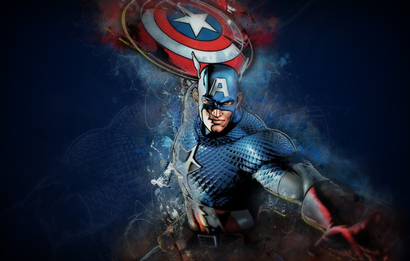 Photo wallpaper fantasy, Marvel, shield, comics, Captain America, mask, fantasy art, superhero, digital art, boulinosaure, artwork