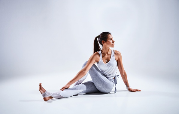 Picture brunette, pose, female, workout, yoga