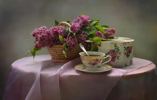 Picture flowers, tea, bouquet, still life, lilac