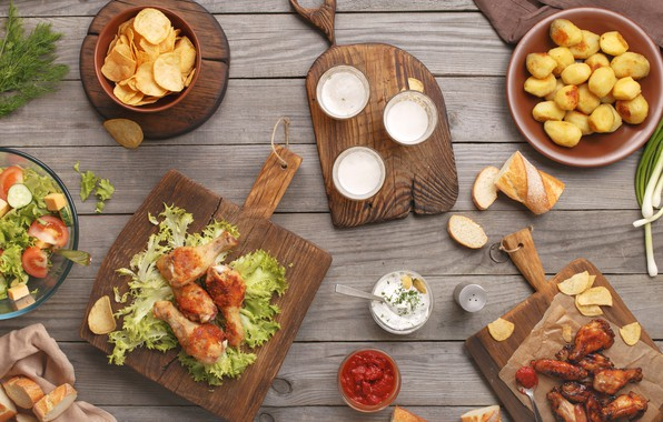 Picture food, vegetables, sauce, ketchup, salad, chips, potatoes, cutting Board, grilled chicken