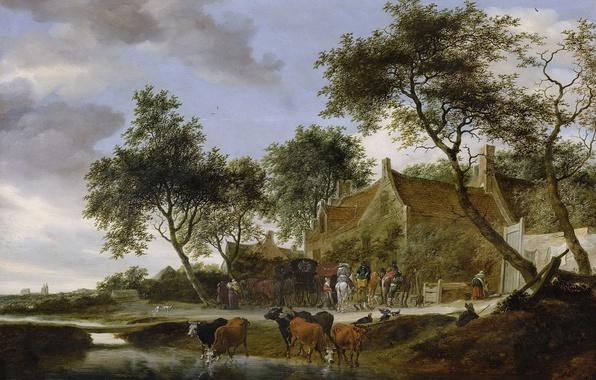 Picture landscape, home, picture, cows, Salomon van Ruysdael, Solomon van Ruisdael, Resting-place
