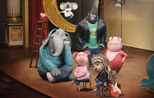 Picture cinema, happy, movie, animal, gorilla, film, animated film, animated movie, Sing