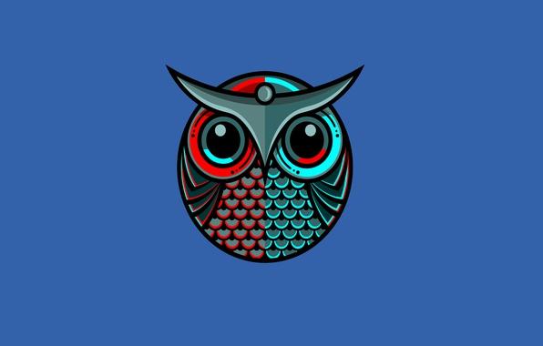 Picture blue, owl, bird, minimalism, owl