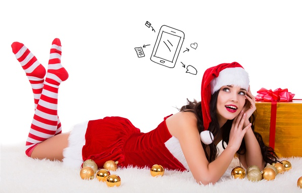 Picture smile, holiday, box, gift, balls, hat, toys, thoughts, new year, Christmas, stockings, makeup, dress, brunette, …