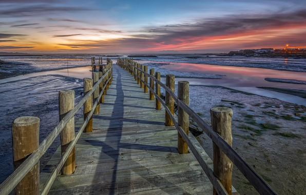 Picture sea, sunset, bridge, shore