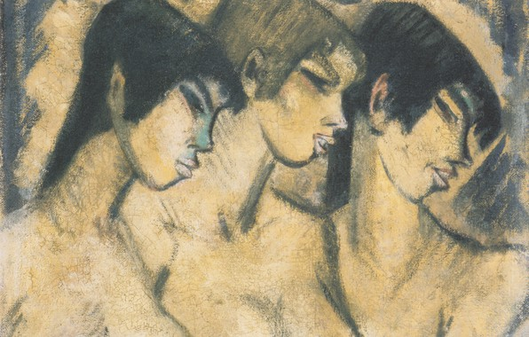 Picture three girls, Expressionism, Otto Mueller, Three girls in profile, ca1918