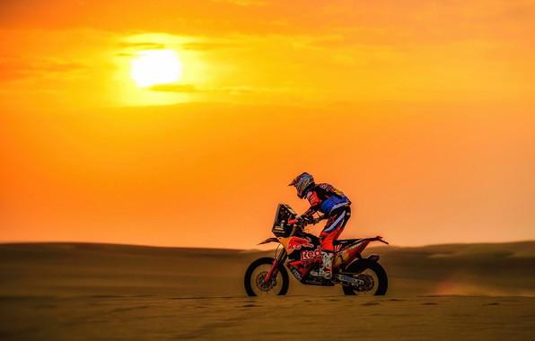 Picture Sunset, The sun, Sport, Speed, Motorcycle, Racer, Moto, KTM, Bike, Rally, Dakar, Dakar, Rally, Moto, …