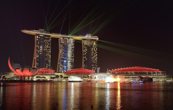 Picture night, lights, Singapore, the hotel