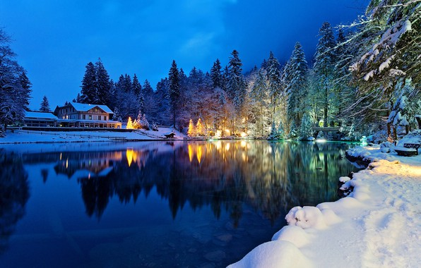 Picture winter, forest, snow, trees, lights, lake, house, the evening, Switzerland, Kandersteg Valley