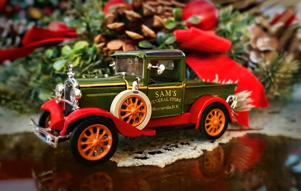 Picture machine, model, 1931 Ford truck, Christmas decoration