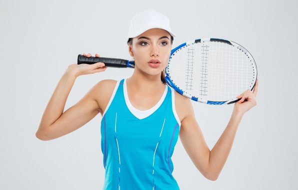 Picture girl, pose, background, makeup, Mike, racket, cap, beauty, athlete, tennis