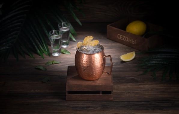 Picture ice, mug, drink, wood, lemons, lemonade, citrus juice
