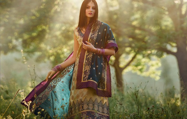 Picture grass, the sun, decoration, trees, nature, makeup, dress, hairstyle, outfit, brown hair, beauty, bokeh