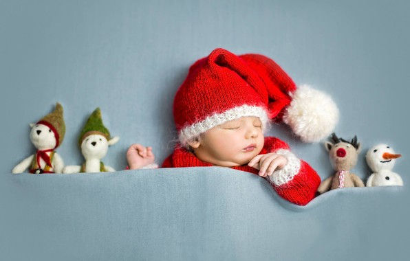 Picture mood, toys, sleep, baby, New year, Santa, child, gnome, a sleeping baby