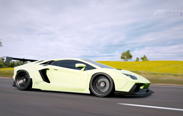 Photo Wallpaper Supercar Lamborghini Aventador Forza Horizon 3 Lyberty Walk Tuning