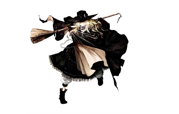 Picture boots, costume, white background, witch, broom, cloak, art, witch hat, Touhou Project, Marisa Kirisame, Project …