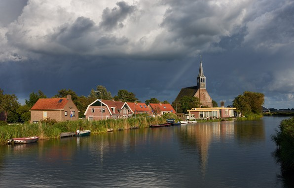 Picture the sky, the sun, clouds, trees, clouds, river, the reeds, home, boats, Church, Netherlands, Oudendijk