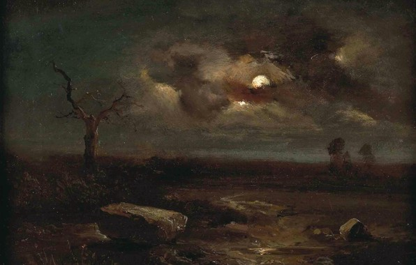 Picture night, stones, tree, Landscape, Carl Gustav Carus, in the moonlight
