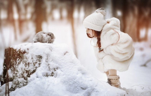 Picture winter, snow, hat, rabbit, girl, pigtail, coat