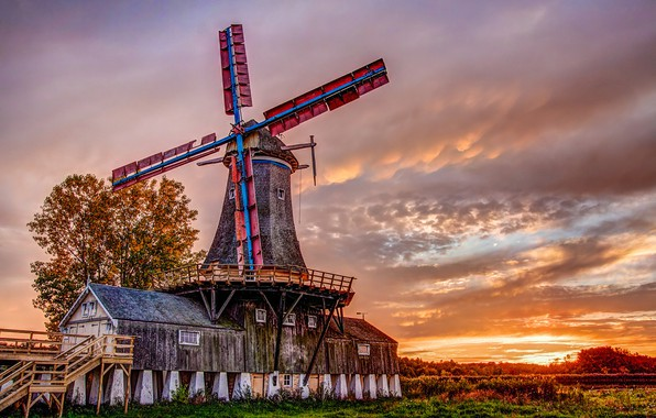 Photo wallpaper landscape, sunset, mill