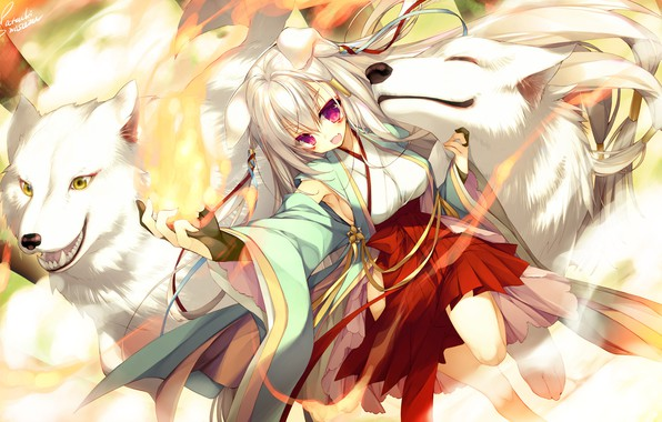 Picture dog, anime, girl