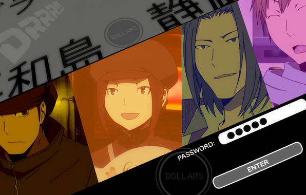 Picture face, durarara!!, dollars, the headless horseman, Lost Kyohei, Togusa Saburou, Kamanda, Walker Yumasaki, Karisawa Erika