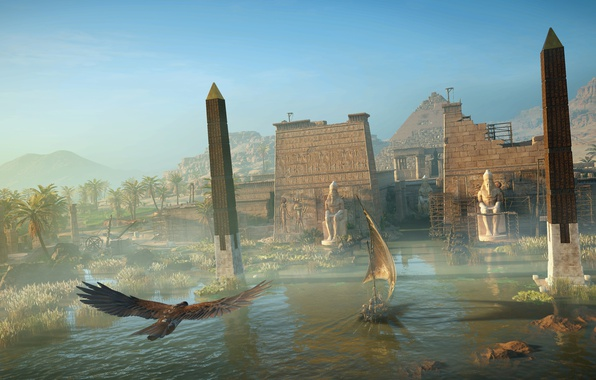 Picture the city, river, bird, eagle, the building, the evening, fortress, Egypt, Assassin's Creed Origins
