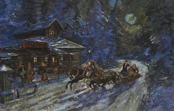 Picture winter, night, picture, three, Konstantin Korovin, Moonlit Troika Ride