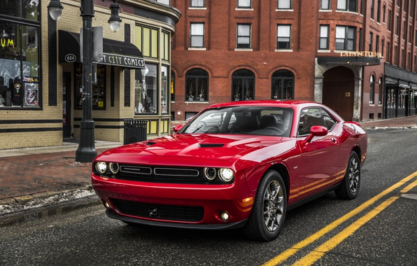Picture road, red, street, Dodge, Challenger, Dodge, Challenger