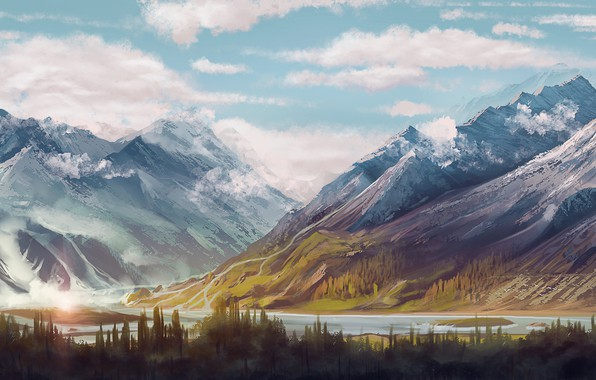 Picture forest, Landscape, river, sky, trees, nature, water, mountains, clouds, snow, painting, digital art, artwork, painting …