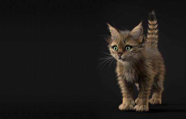 Picture baby, art, kitty, kitten, children's, Alina Makarenko