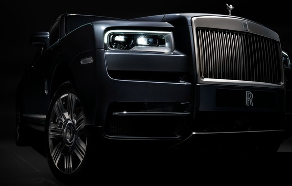 Picture headlight, Rolls-Royce, front view, 2018, Cullinan