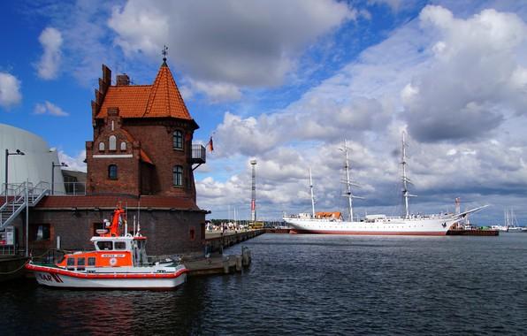 Picture sailboat, Germany, port, boat, Germany, bark, Stralsund, Stralsund, Gorch Fock