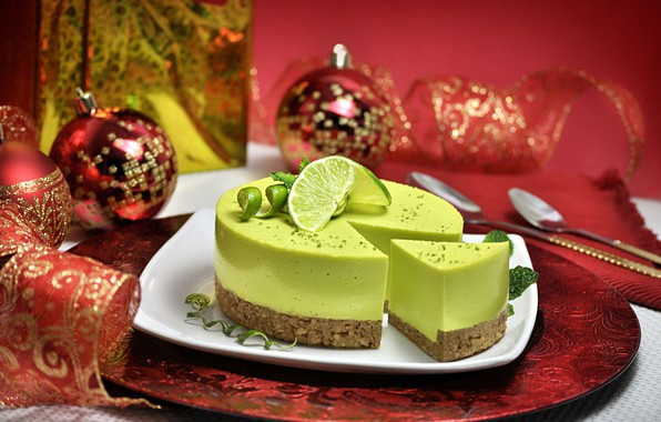 Picture balls, balls, plate, Christmas, cake, New year, lime