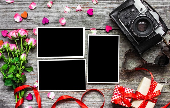 Picture flowers, photo, roses, bouquet, camera, frame, petals, gifts, hearts, love, vintage, photo, wood, pink, camera, …