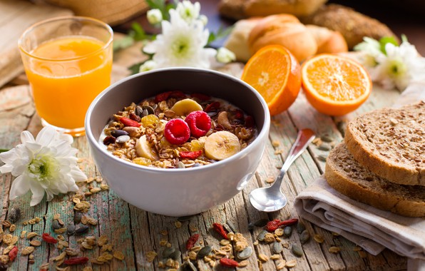 Picture berries, Breakfast, juice, banana, wood, muesli, yogurt, orange