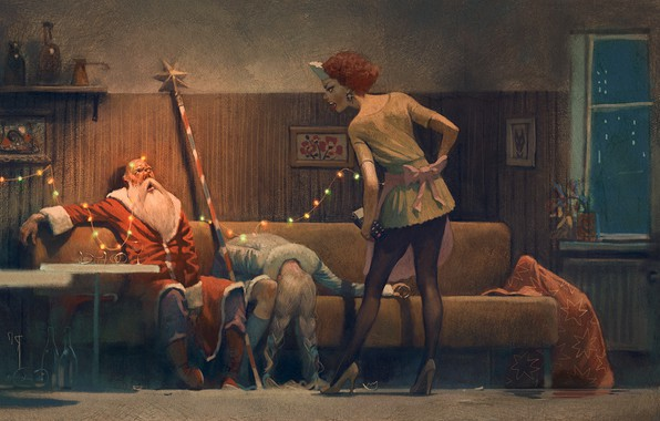 Picture new year, Christmas, maiden, Santa Claus, booze, drunk, happy new year, merry christmas, after party
