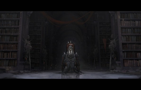 Picture girl, weapons, books, sword, candles, anime, art, warriors, veil, the throne, halo, skeletons, novelance