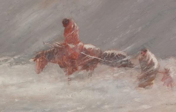 Picture water, horse, wagon, Oscar Edmund Berninghaus, Snow Storm