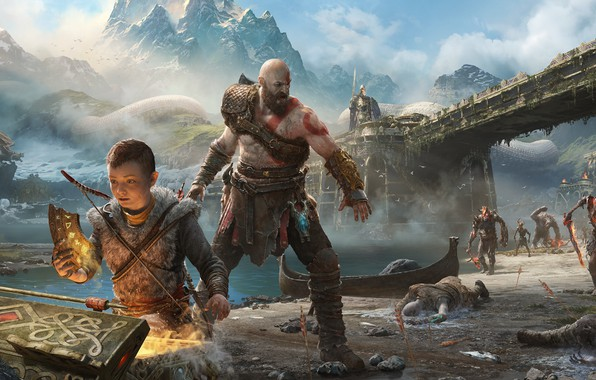 Picture Kratos, God of War, Kratos, Sony Santa Monica, God of War (PS4), Atreus