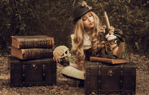 Picture girl, books, skull, hat, curls, chests, microscope