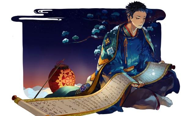 Picture night, pattern, lantern, white background, guy, Japanese clothing, Cape, scroll, haikyuu!!, volleyball!!, sawamura dai.