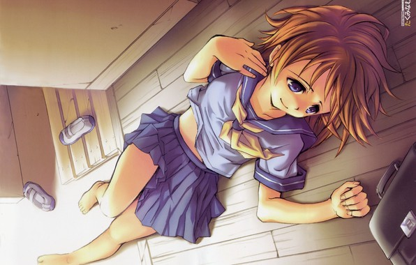 Picture barefoot, schoolgirl, blue eyes, portfolio, when the cicadas cry, lying on the floor, sailor, Rena ...