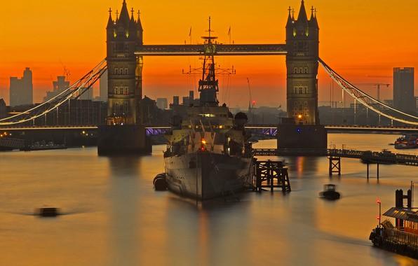 Picture ship, England, London, glow, Tower bridge