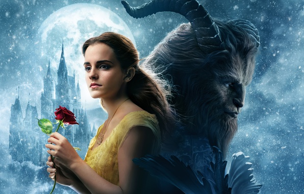 Picture cinema, girl, love, rose, Disney, Emma Watson, flower, monster, blizzard, lion, snow, movie, castle, blonde, …