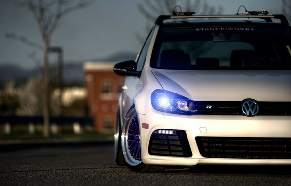 Picture car, machine, auto, volkswagen, car, turbo, white, car, cars, auto, golf, tuning, germany, low, stance, …